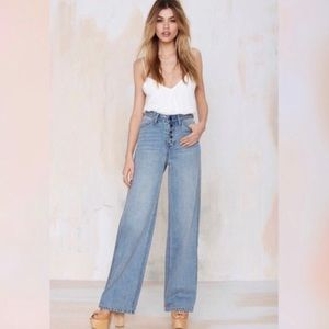 Nasty Gal exposed button jeans.